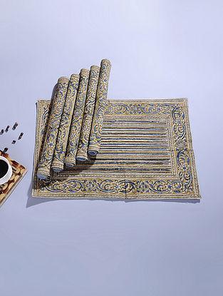 Blue Cotton Kalamkari Printed Table Mat (Set of 6) (18.5in x 12.5in)