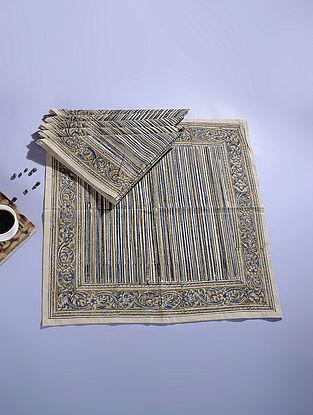 Blue Cotton Kalamkari Printed Napkin (Set of 6) (21in x 21in)