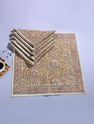 Mustard Cotton Kalamkari Printed Napkin (Set of 6) (20.5in x 20.5in)