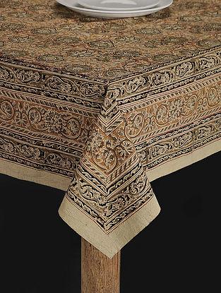 Green Cotton Kalamkari Printed Table Cover (70in x 67in)