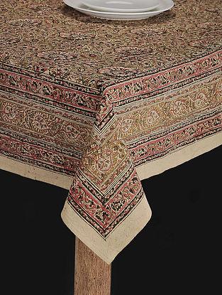 Mustard Cotton Kalamkari Printed Table Cover (70in x 67in)
