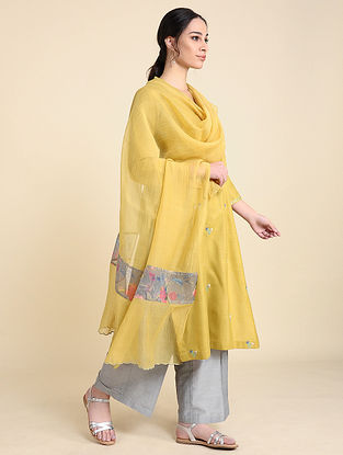 Ochre Chanderi Silk Dupatta with Scallop Detailing