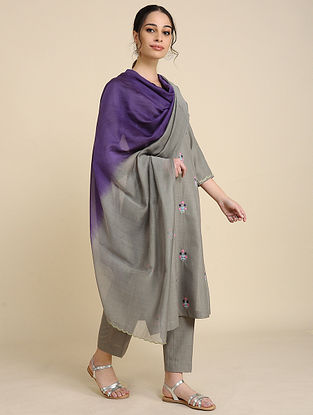 Grey Blue Chanderi Silk Dupatta with Scallop Detailing