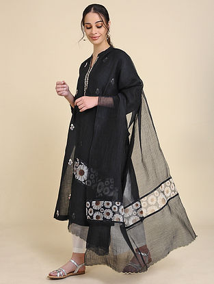 Black Chanderi Silk Dupatta with Scallop Detailing