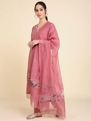 Pink Chanderi Silk Dupatta with Scallop Detailing