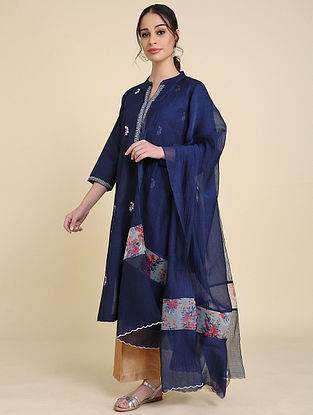 Navy Blue Chanderi Silk Dupatta with Scallop Detailing