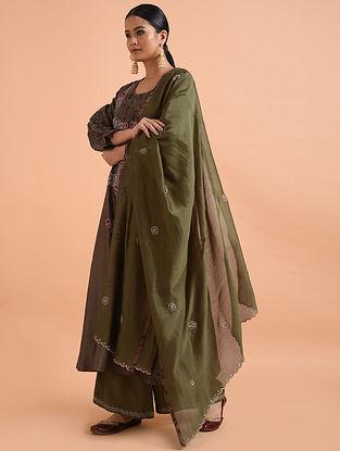 Green Chanderi Silk Dupatta with Cutwork Embroidery
