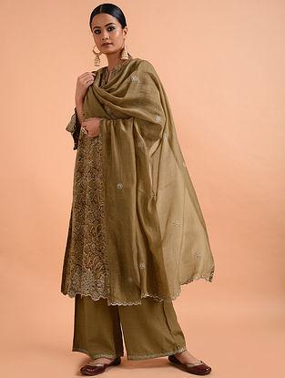 Beige Chanderi Silk Dupatta with Cutwork Embroidery