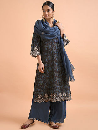 Blue Chanderi Silk Dupatta with Cutwork Embroidery