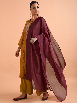 Maroon Chanderi Silk Dupatta with Scallop Detail