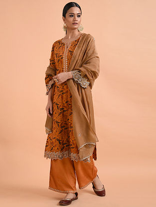 Rust Chanderi Silk Dupatta with Cutwork and Scallop Embroidery