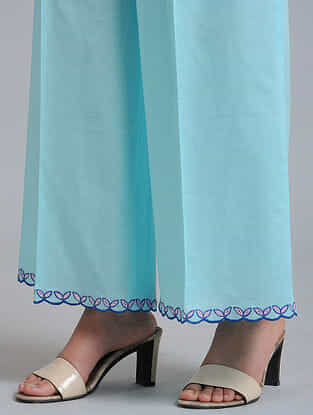 Light Blue Embroidered Cotton Palazzo