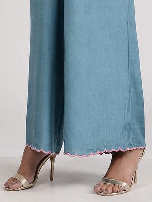 Blue Embroidered Cotton Silk Palazzo