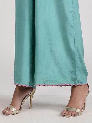Sea Green Embroidered Cotton Silk Palazzo