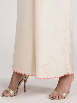 Ivory Embroidered Cotton Silk Palazzo