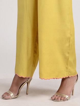 Yellow Embroidered Cotton Silk Palazzo