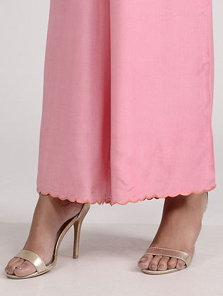 Pink Embroidered Cotton Silk Palazzo