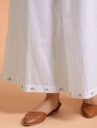 White Applique Cotton Mul Palazzo