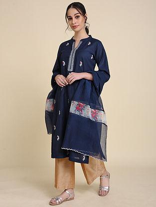 Navy Blue Embroidered Matka Cotton Kurta