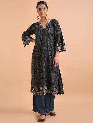 Black Blue Kalamkari Mangalgiri Cotton Kurta with Cutwork Embroidery