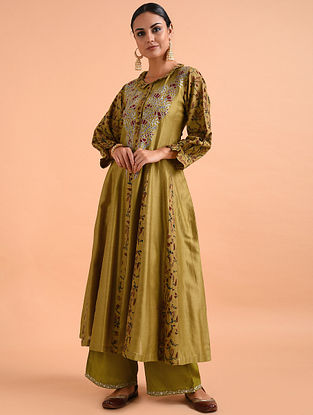 Mustard Kalamkari Chanderi Silk Kurta with Applique and Embroidery (with Slip)- Set of 2