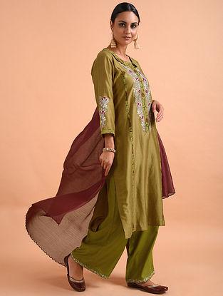 Mustard Kalamkari Chanderi Silk Kurta with Applique and Embroidery (with Lining)