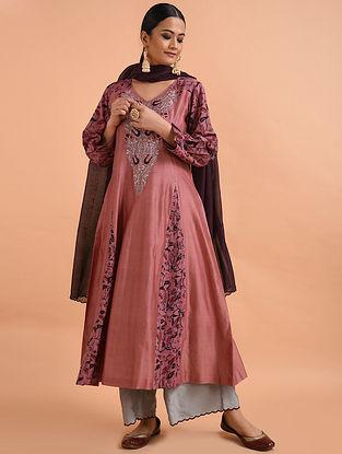 Dusty Rose Kalamkari Chanderi Silk Kurta with Applique and Embroidery
