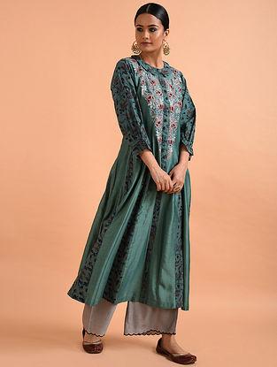Peacock Green Kalamkari Chanderi Silk Kurta with Applique and Embroidery (with Slip)- Set of 2