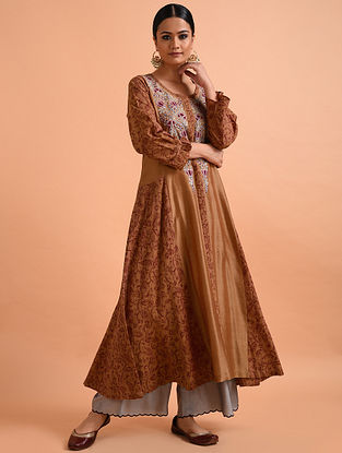 Rust Embroidered Chanderi Silk Kurta with Applique and Kalamkari Detail