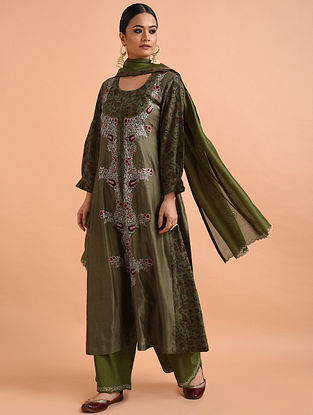 Green Kalamkari Chanderi Silk Kurta with Applique and Embroidery (with Slip)- Set of 2