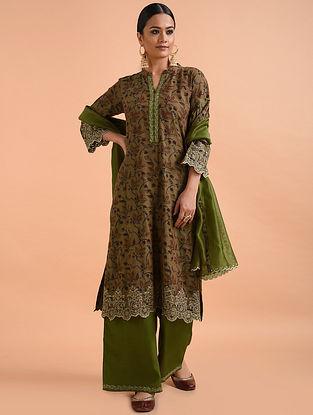 Green Kalamkari Mangalgiri Cotton Kurta with Cutwork Embroidery