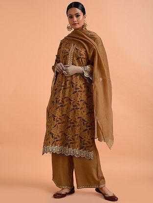 Amber Kalamkari Mangalgiri Cotton Kurta with Cutwork Embroidery
