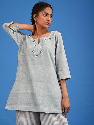 Sage Green Embroidered Handwoven Cotton Kurta
