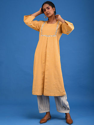 Marigold Box Pleat Handwoven Cotton Kurta with Embroidery