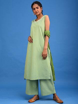 Pear Green Embroidered Handwoven Cotton Kurta