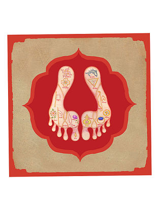 Pichwai Sacred Feet Art Print on Paper