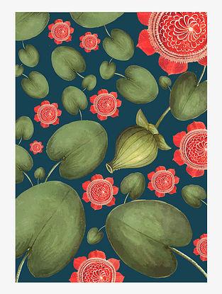 Lotus Love Digital Mix Media Art on Paper