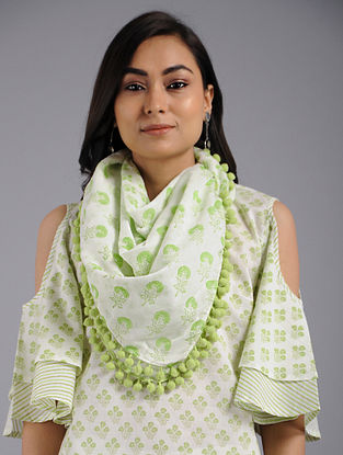 Lime Green Block-printed Cotton Scarf