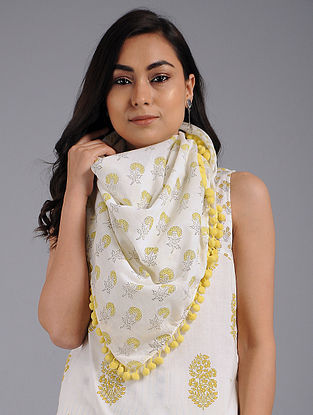 Yellow Block-printed Cotton Scarf