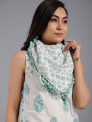 Jade Green Block-printed Cotton Scarf