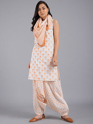 Peach Block-printed Cotton Kurta with Harem Pants and Scarf (Set of 3)