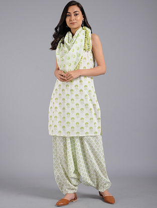 Lime Green Block-printed Cotton Kurta with Harem Pants and Scarf (Set of 3)