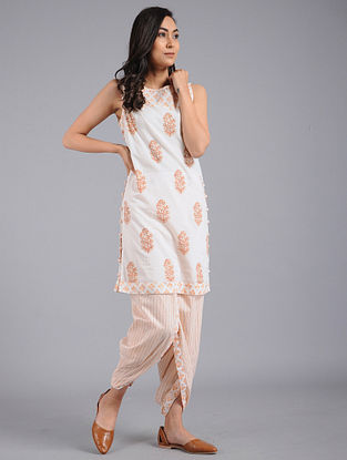 Peach Block-printed Cotton Tunic with Dhoti Pants (Set of 2)
