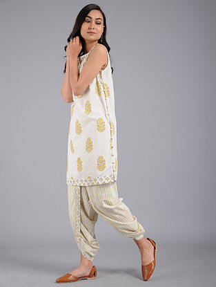 Yellow Block-printed Cotton Tunic with Dhoti Pants (Set of 2)