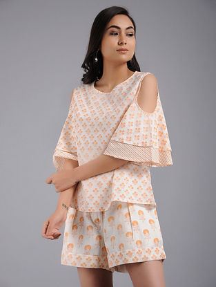 Peach Block-printed Cotton Top with Shorts (Set of 2)
