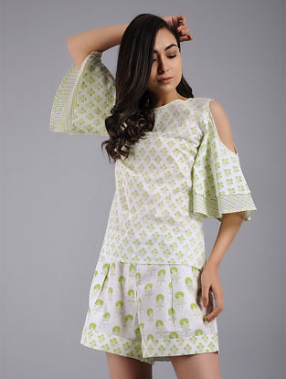 Lime Green Block-printed Cotton Top with Shorts (Set of 2)