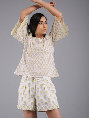 Yellow Block-printed Cotton Top with Shorts (Set of 2)