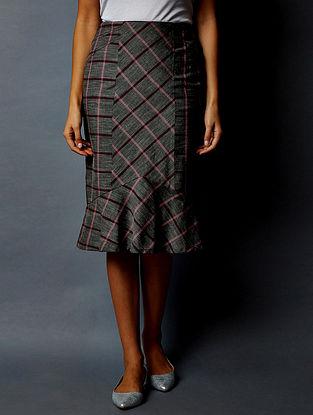 Dark Grey Checkered South Cotton Skirt