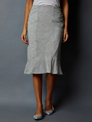 White-Black Striped South Cotton Skirt