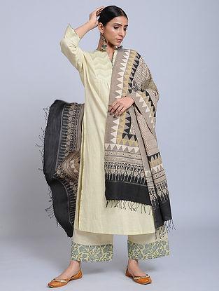 Beige-Black Handwoven Ajrakh Printed Cotton Dupatta